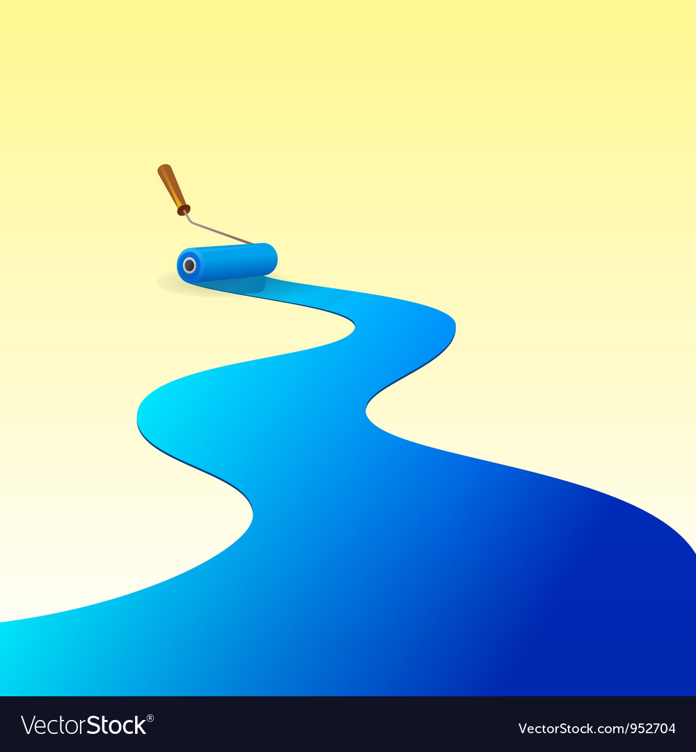 Blue paint and roller vector | Price: 1 Credit (USD $1)