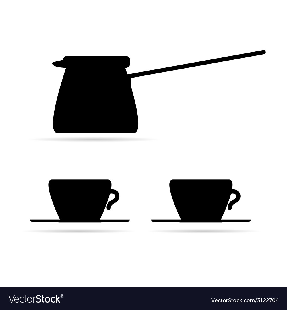 Coffee pot and coffee cups black vector | Price: 1 Credit (USD $1)
