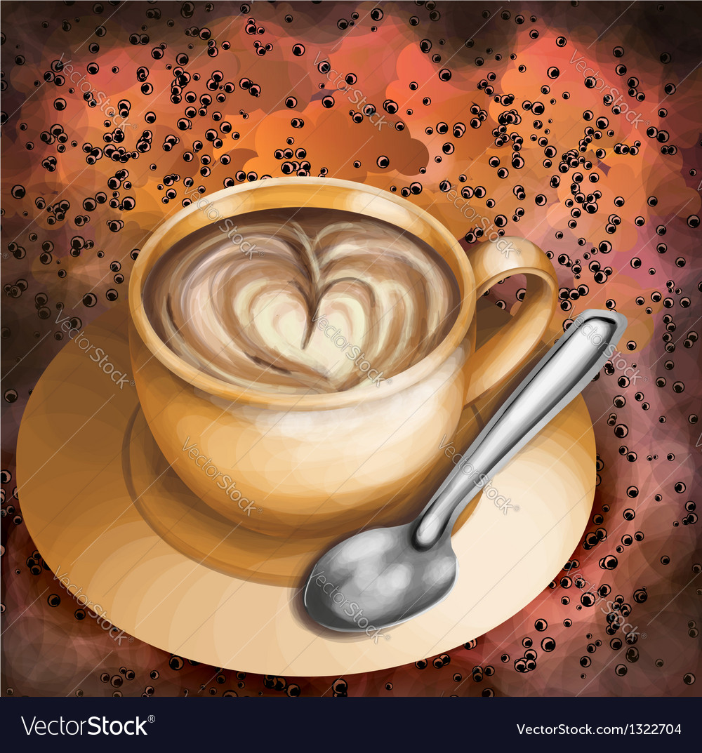 Cup of coffee on abstract colorful background vector | Price: 1 Credit (USD $1)