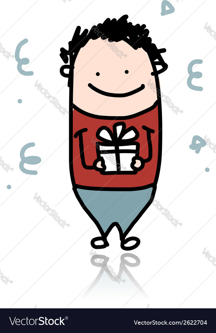 Cute boy with present box cartoon for your design vector | Price: 1 Credit (USD $1)