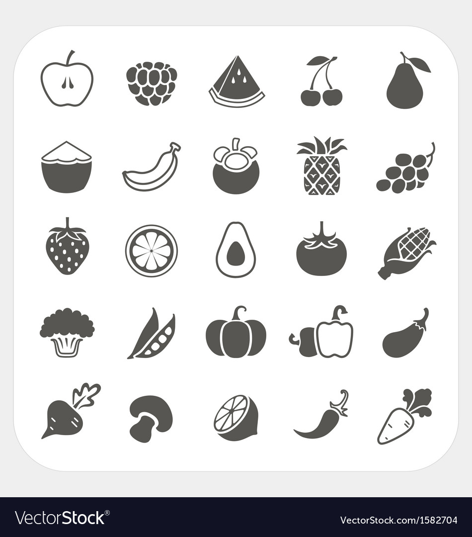 Fruits and vegetables icons with frame background vector | Price: 1 Credit (USD $1)