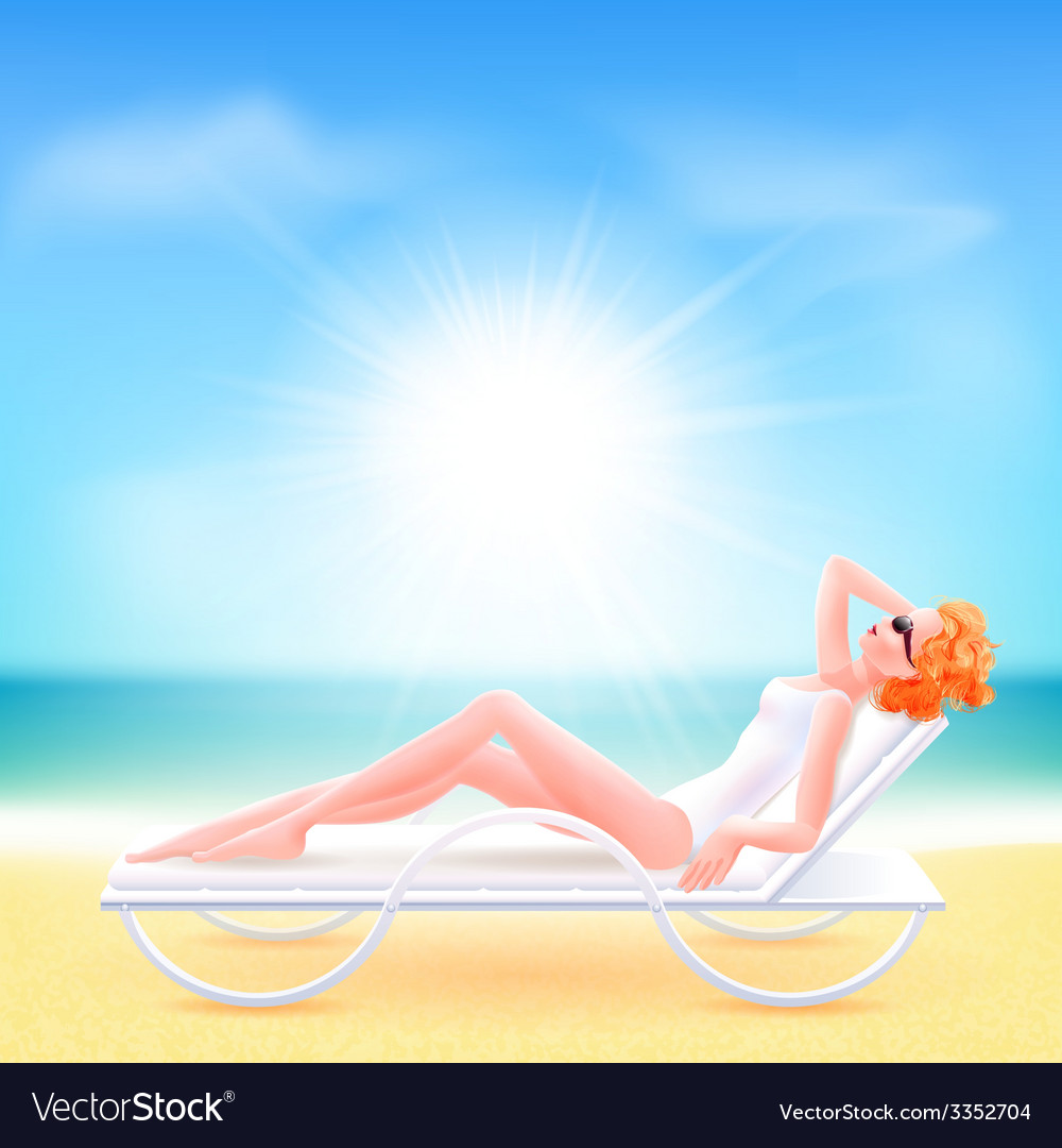 Girl suit lying on a chaise lounge vector | Price: 3 Credit (USD $3)