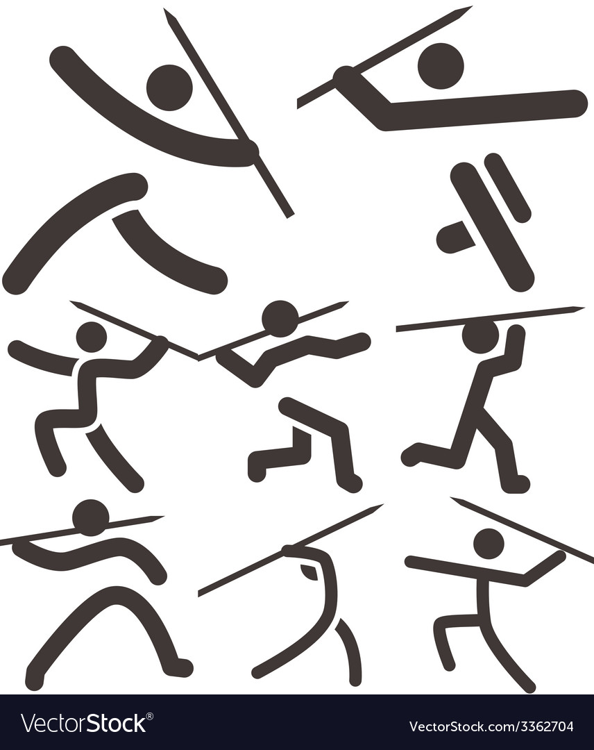 Javelin throw icons vector | Price: 1 Credit (USD $1)