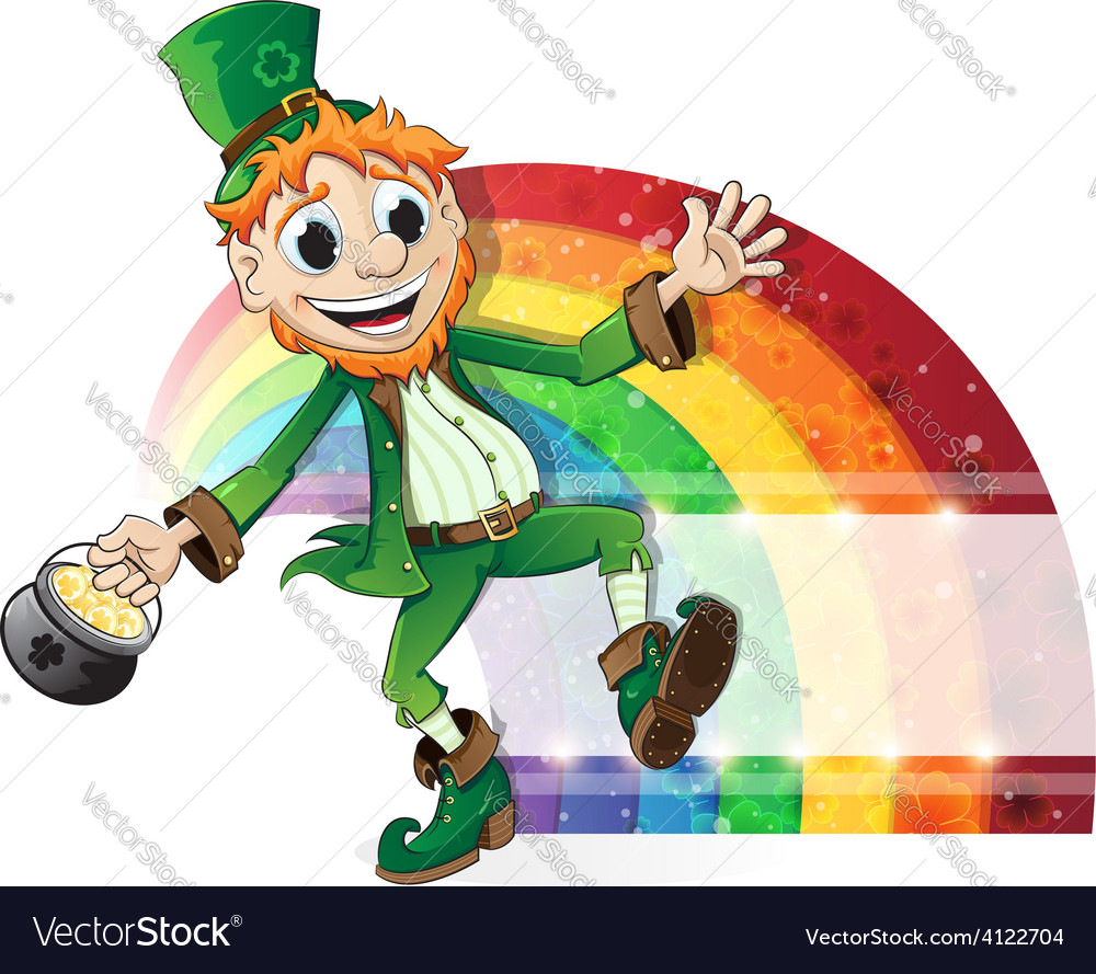 Leprechaun with a pot of gold and rainbow vector | Price: 3 Credit (USD $3)