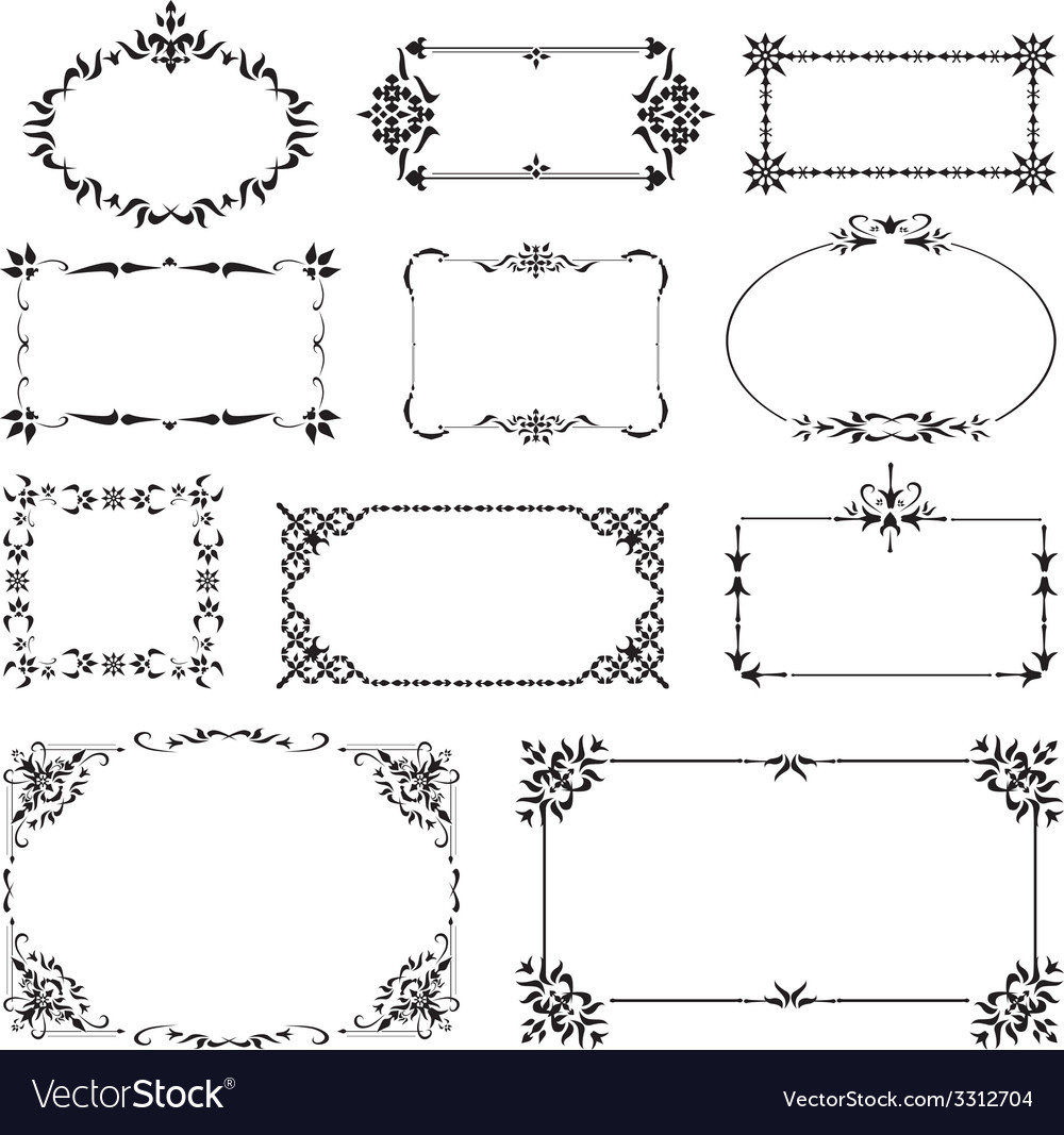 Ornamental design corners set vector | Price: 1 Credit (USD $1)