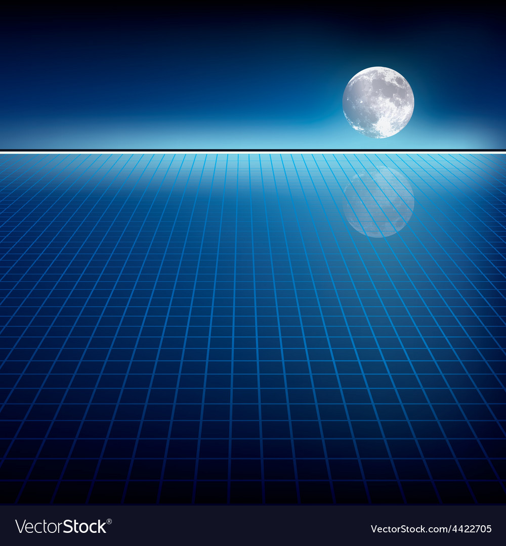 Abstract blue background with moon and horizon vector | Price: 1 Credit (USD $1)