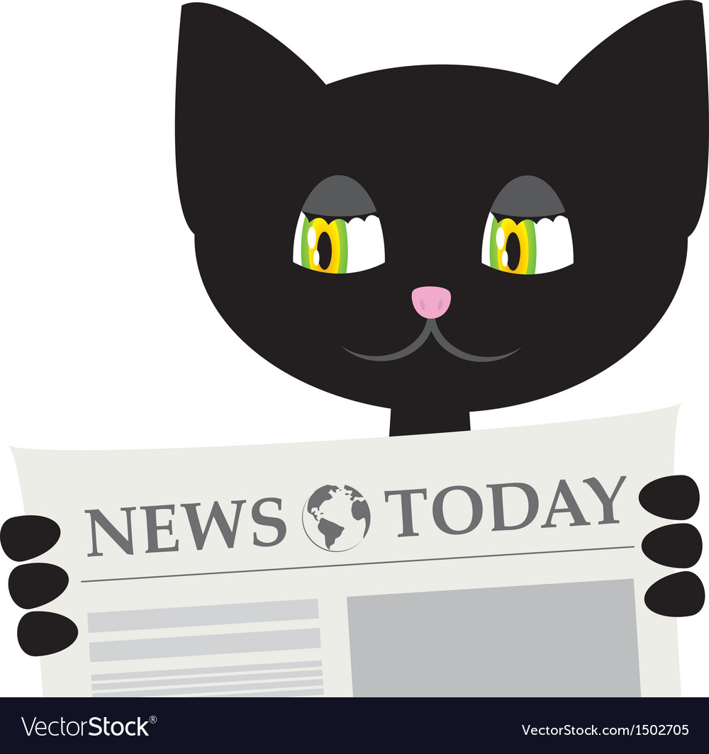 Black cat is reading a newspaper vector | Price: 1 Credit (USD $1)