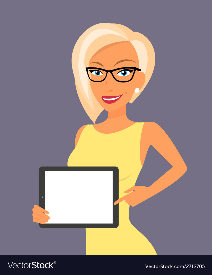 Blonde woman showing something displayed on tablet vector | Price: 1 Credit (USD $1)