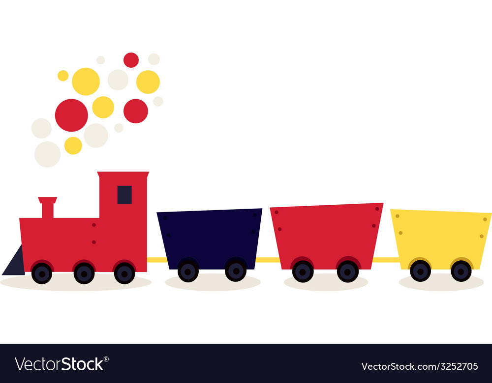 Colorful cartoon train isolated on white vector | Price: 1 Credit (USD $1)