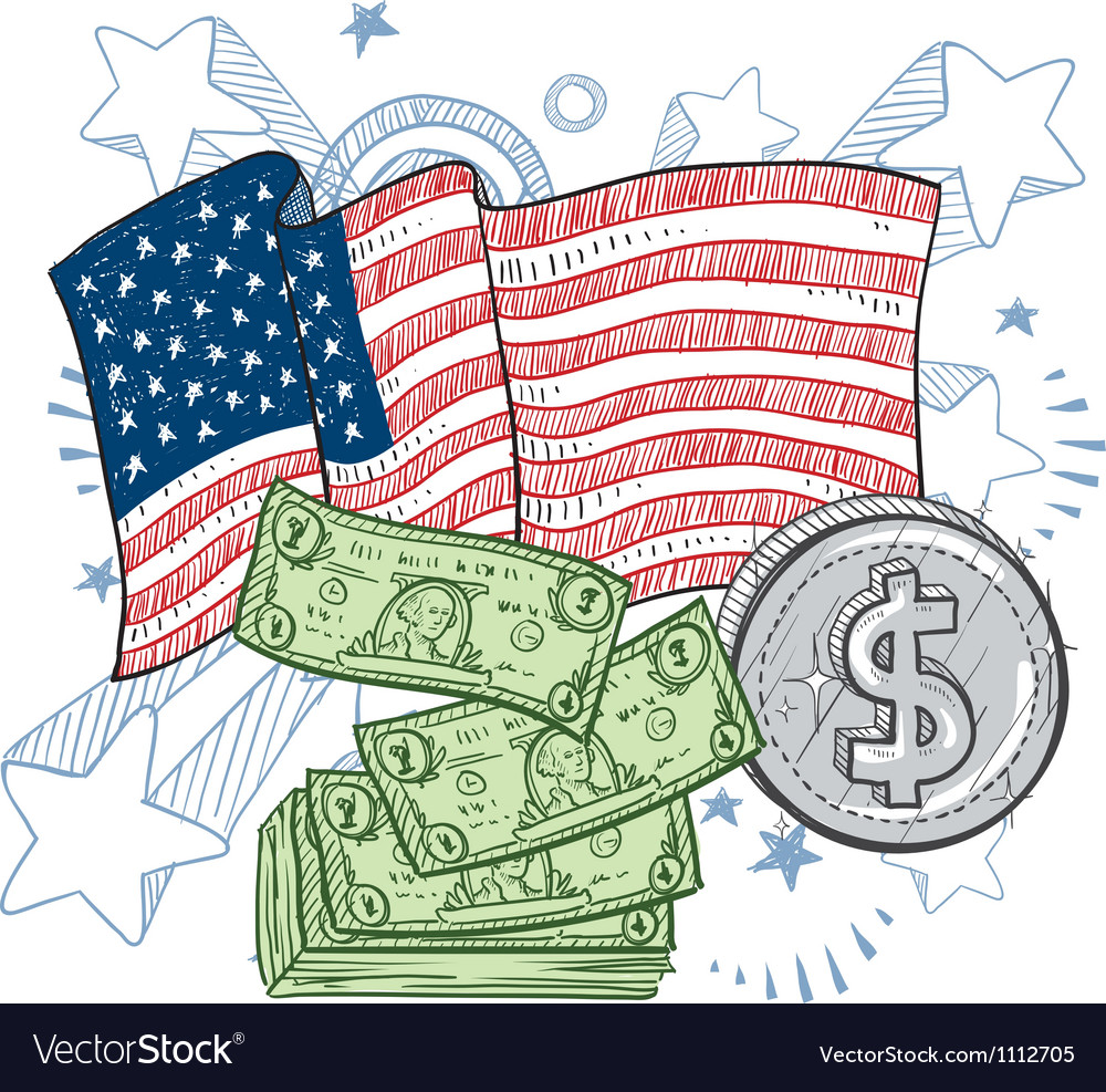 Doodle americana money vector | Price: 1 Credit (USD $1)