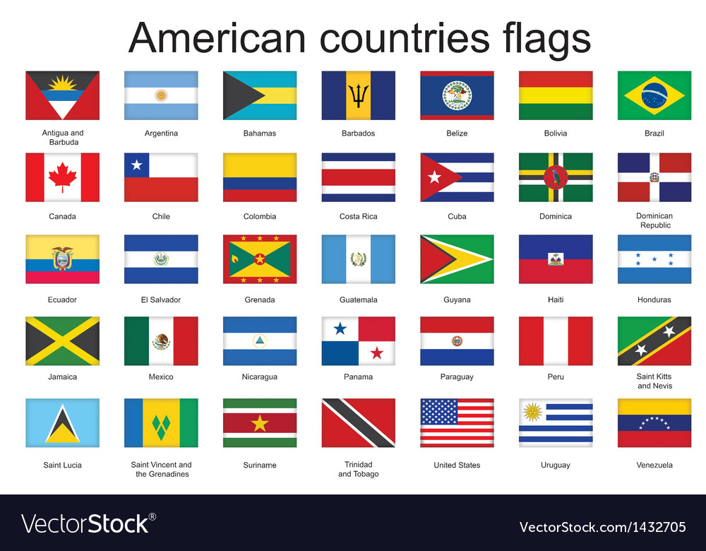 Flags of americas vector | Price: 1 Credit (USD $1)