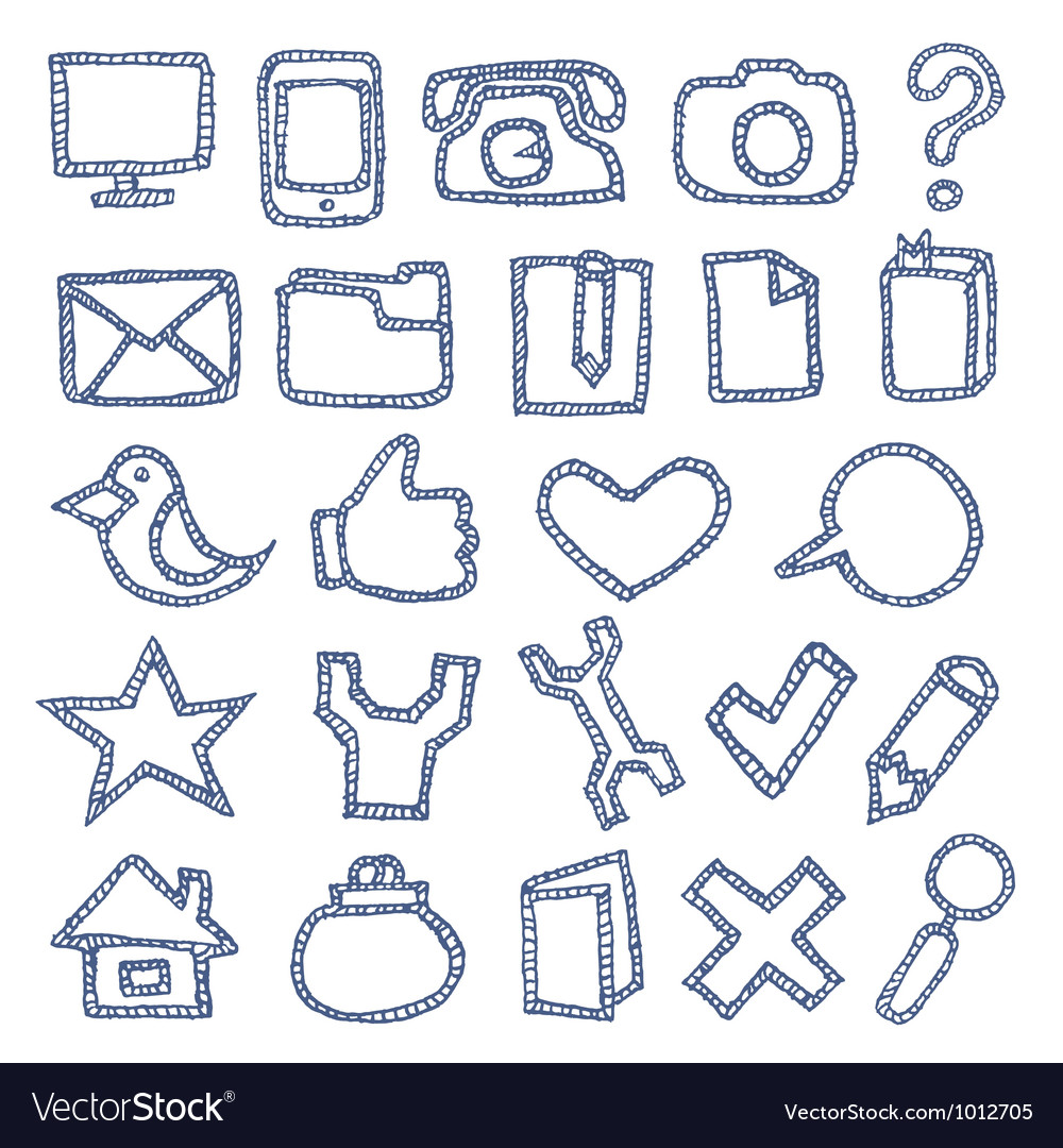 Hand drawn icons set vector | Price: 1 Credit (USD $1)