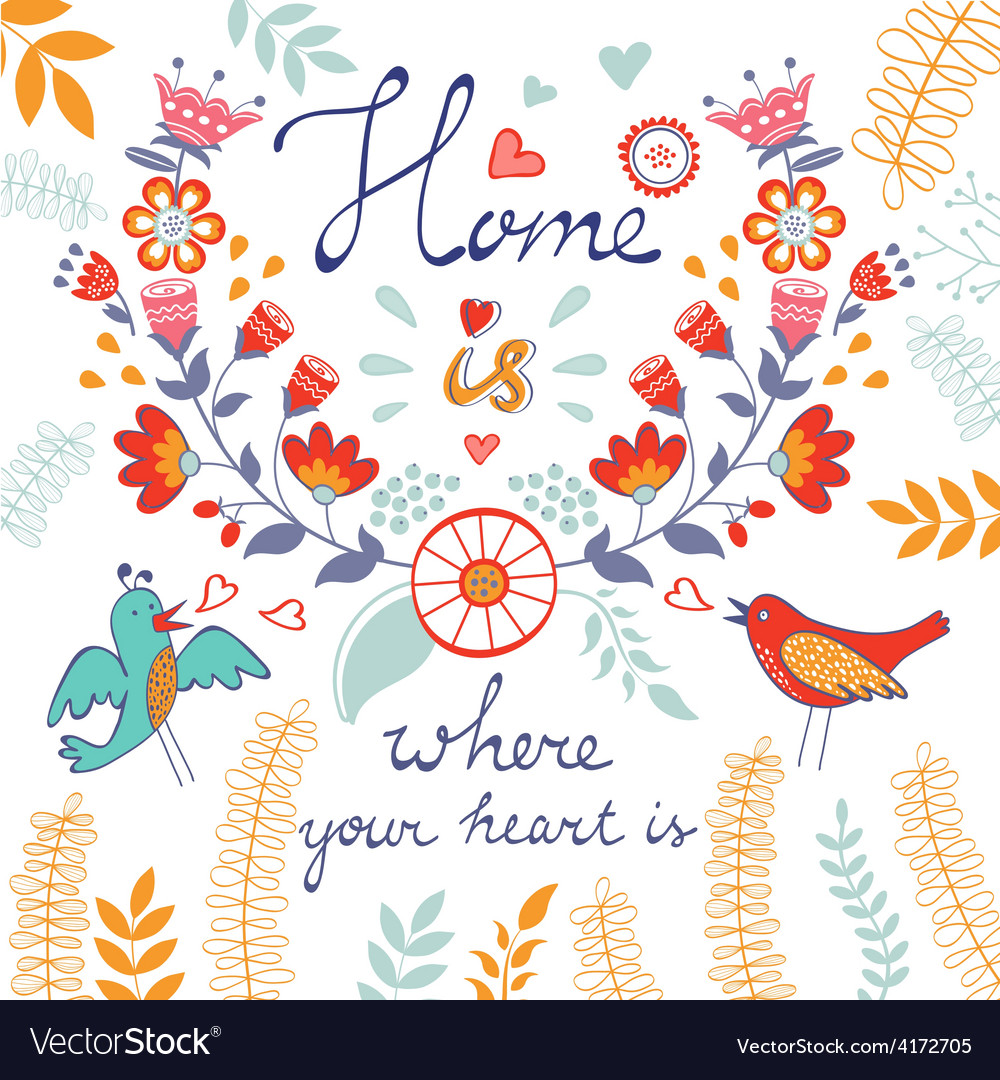 Home is where the heart is concept card vector | Price: 1 Credit (USD $1)
