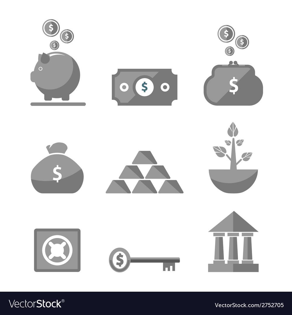 Money icons in black color vector | Price: 1 Credit (USD $1)