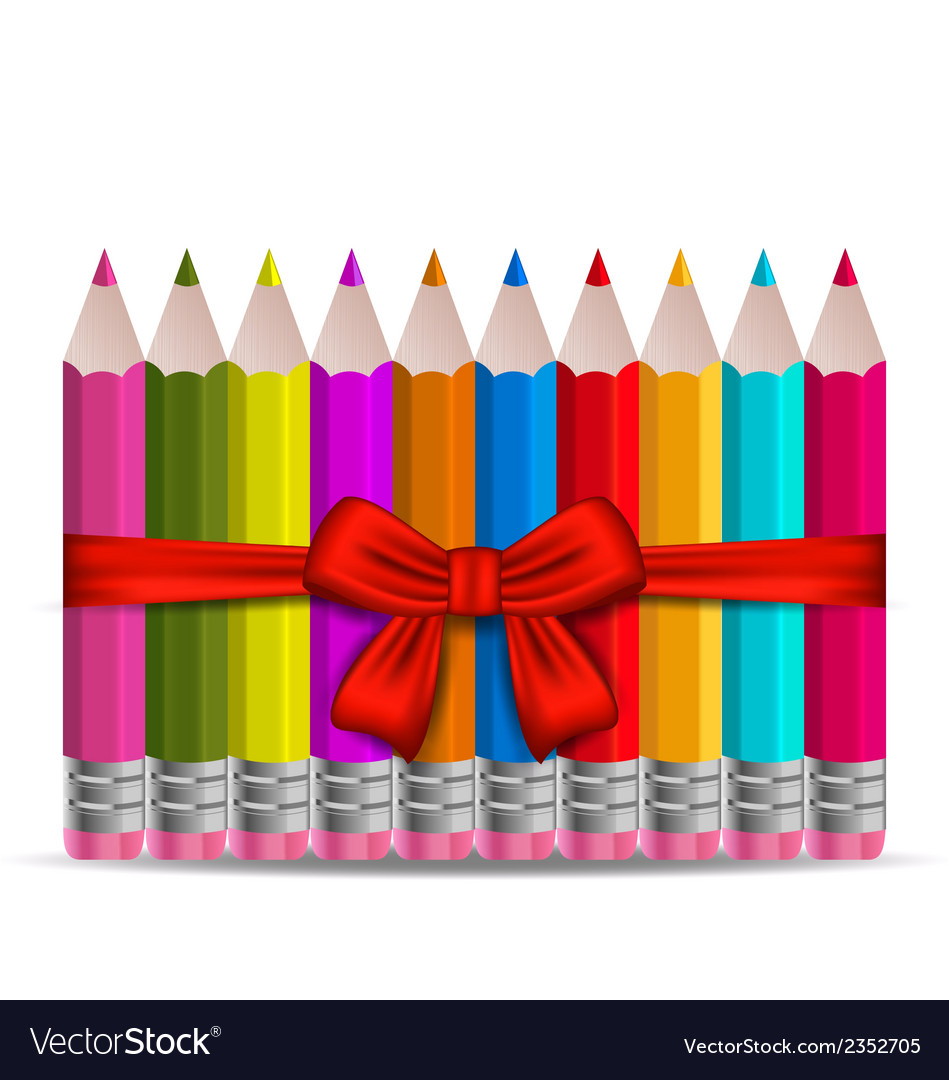 Set colorful pencils decorated by bow on white vector | Price: 1 Credit (USD $1)