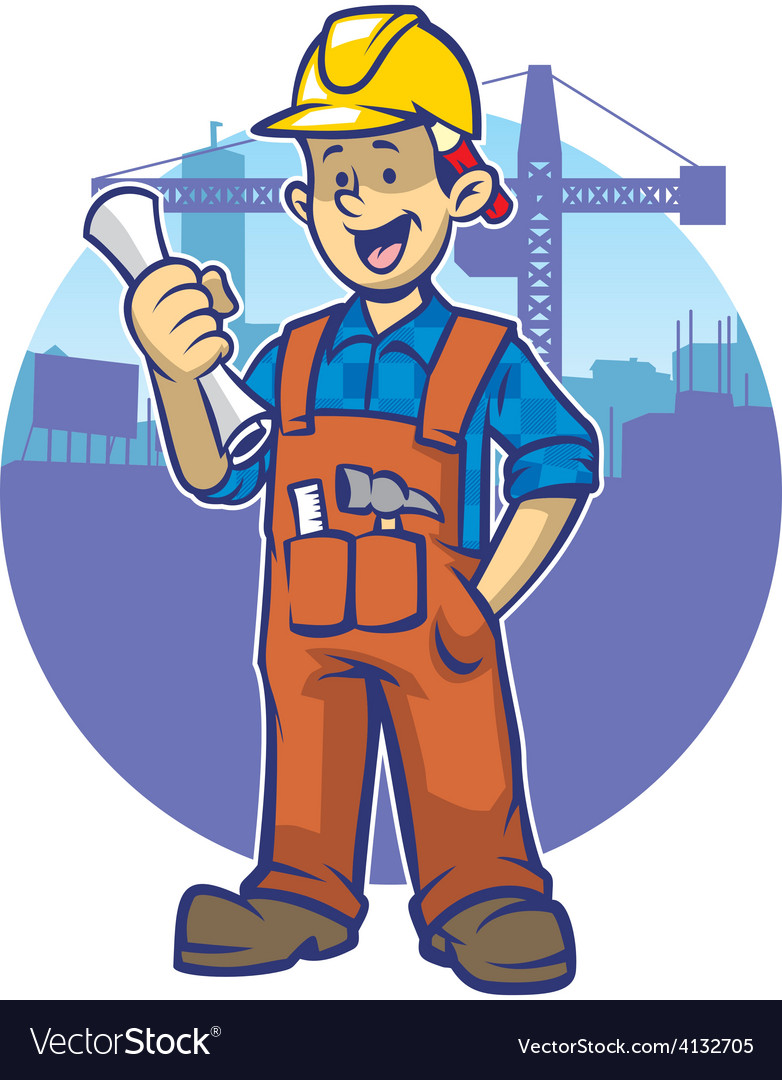 Smiling construction worker wear a hard hat vector | Price: 3 Credit (USD $3)