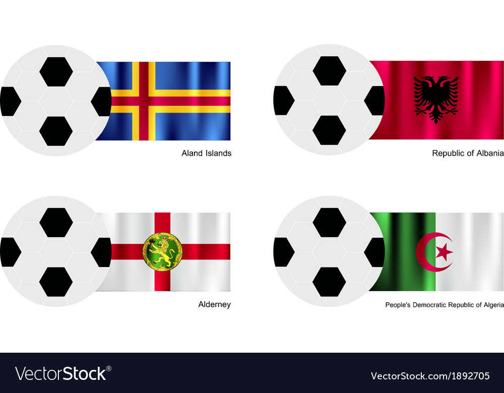 Soccer ball with aland albania alderney flag vector | Price: 1 Credit (USD $1)