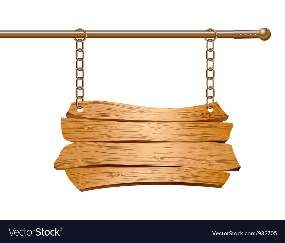 Wooden sign suspended on chains vector   Price: 1 Credit (USD $1)