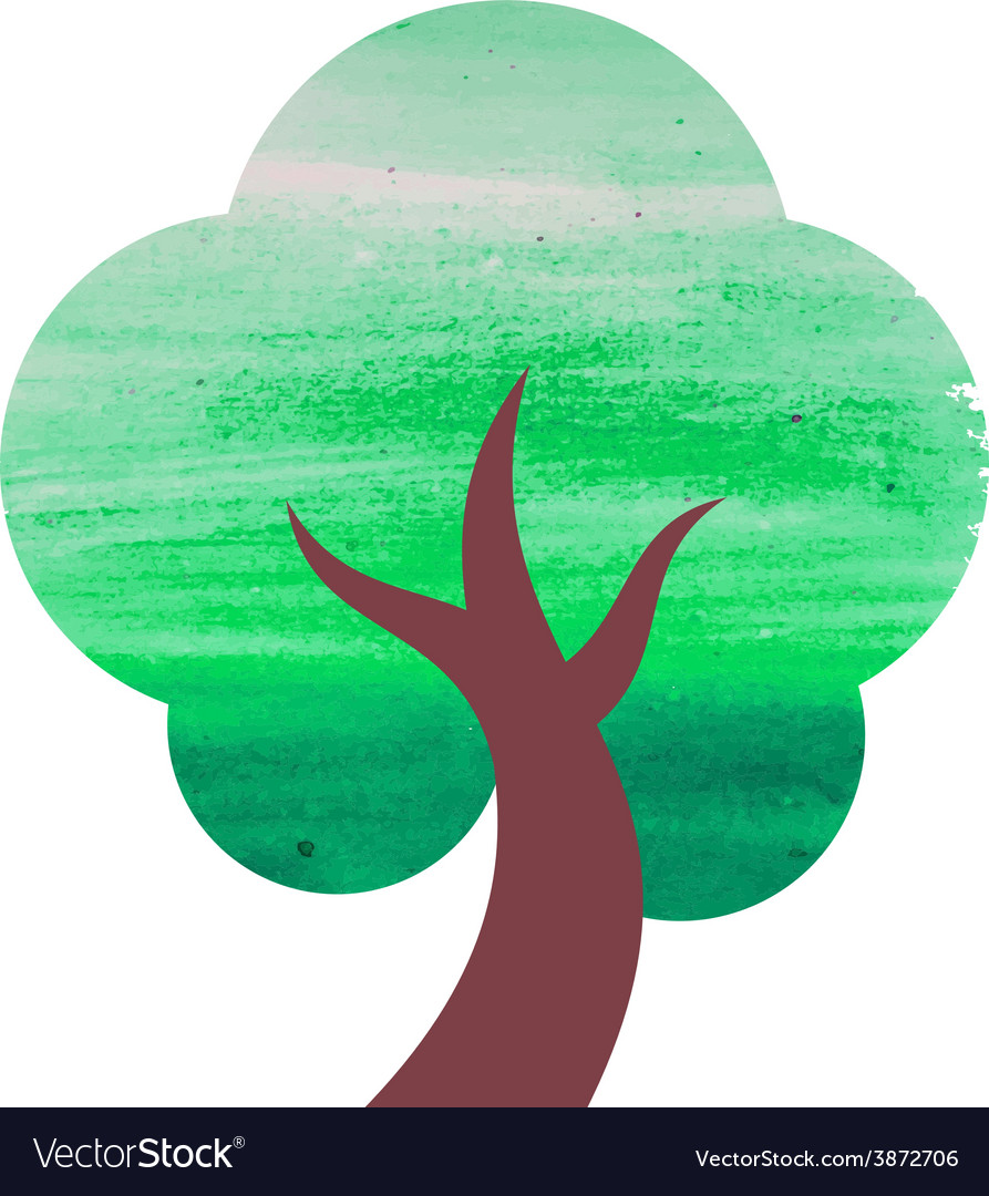 Abstract watercolor tree vector | Price: 1 Credit (USD $1)