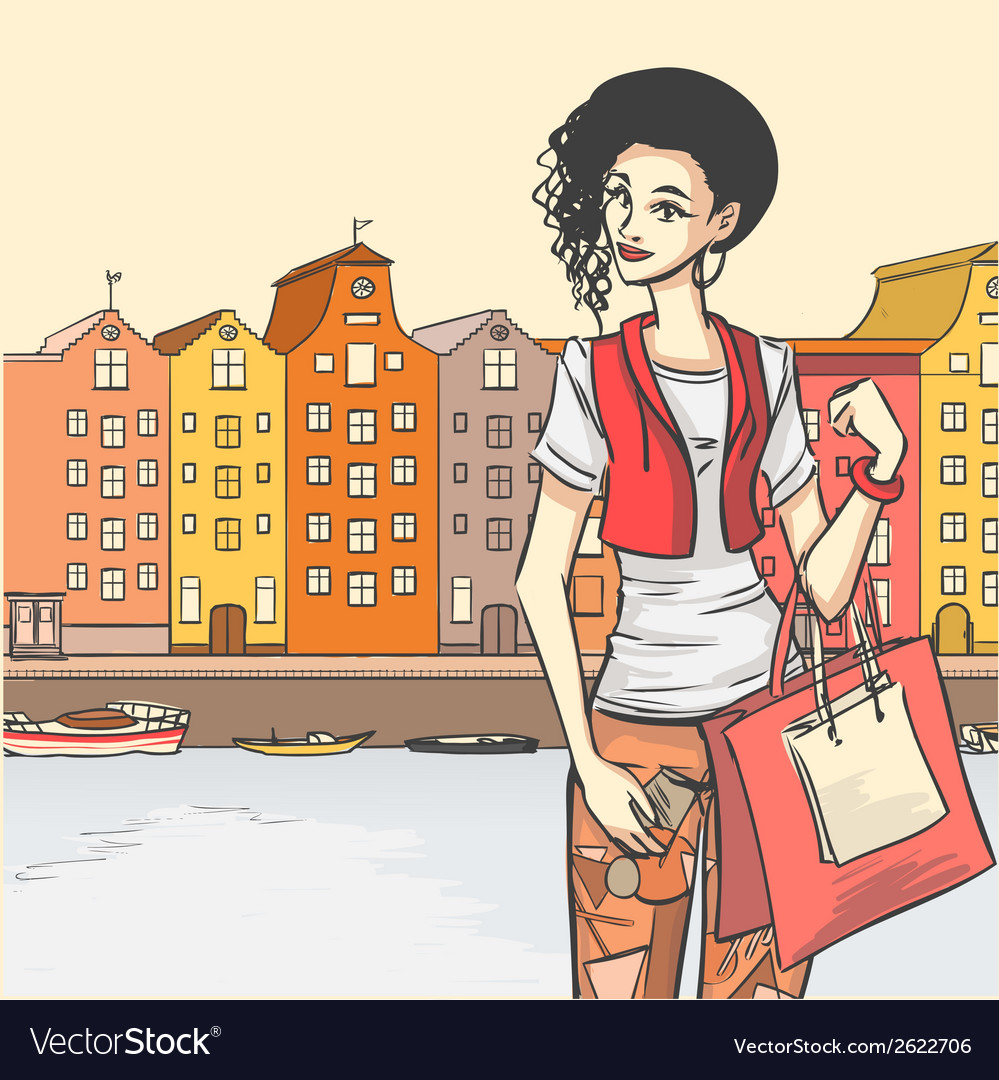 Beautyful girl shoppping vector | Price: 1 Credit (USD $1)