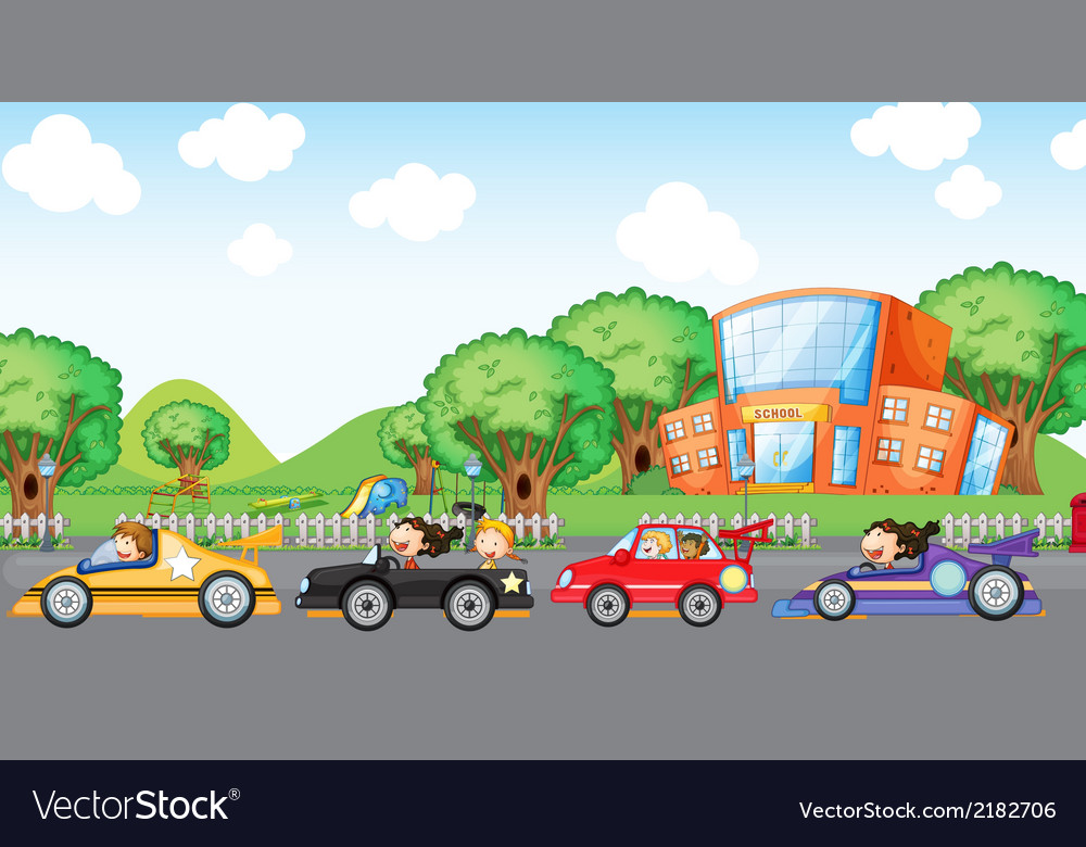 Children car racing vector | Price: 1 Credit (USD $1)