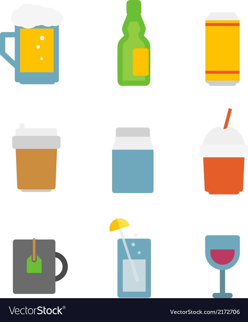 Different drinks icons set isolated on white vector | Price: 1 Credit (USD $1)