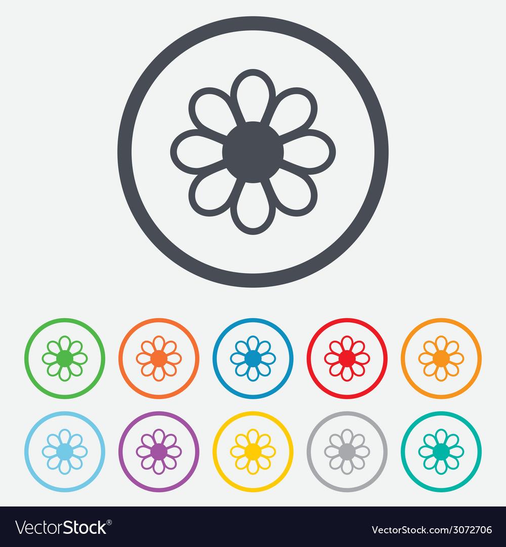Flower sign icon blossom symbol vector | Price: 1 Credit (USD $1)
