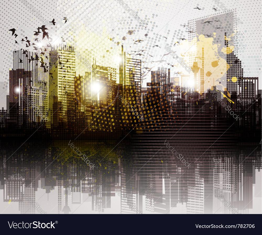 Grunge city panorama vector | Price: 1 Credit (USD $1)