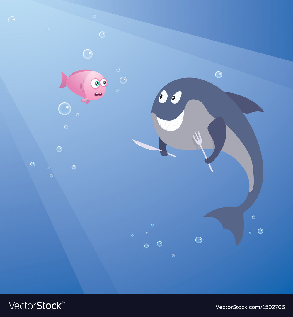 Hungry shark and little pink fish vector | Price: 1 Credit (USD $1)