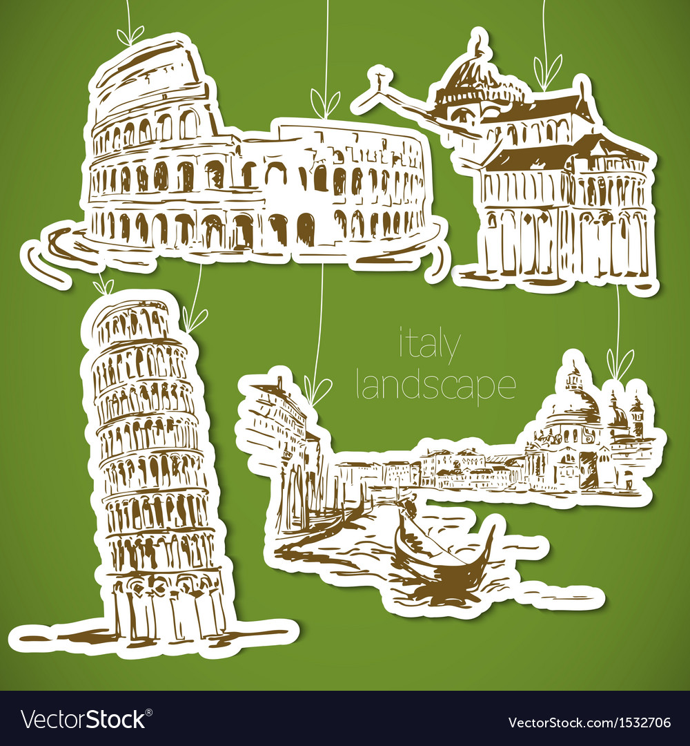 Italy hand drawn landscape in vintage style vector | Price: 3 Credit (USD $3)
