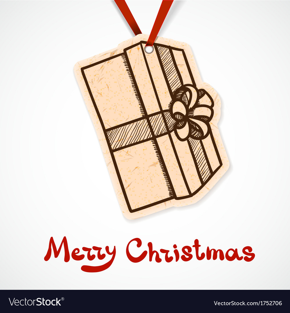 Present box paper label christmas and new year vector | Price: 1 Credit (USD $1)