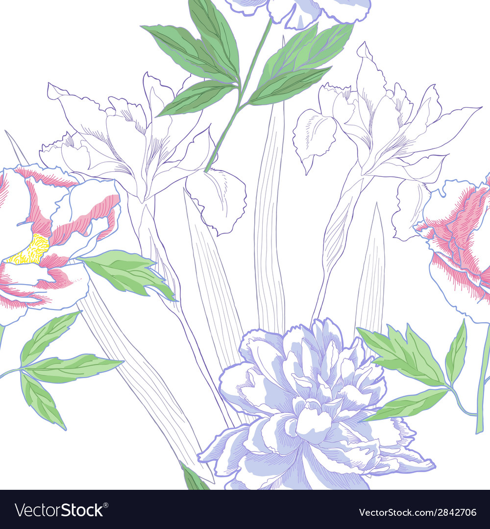 Seamless pattern with irises and peonies vector   Price: 1 Credit (USD $1)