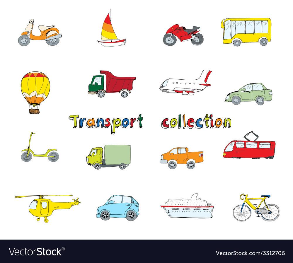 Transport doodle set colored vector | Price: 1 Credit (USD $1)