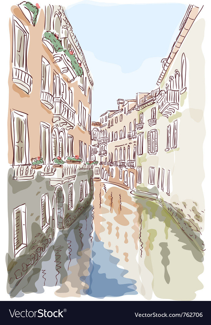Venice watercolor style vector | Price: 3 Credit (USD $3)