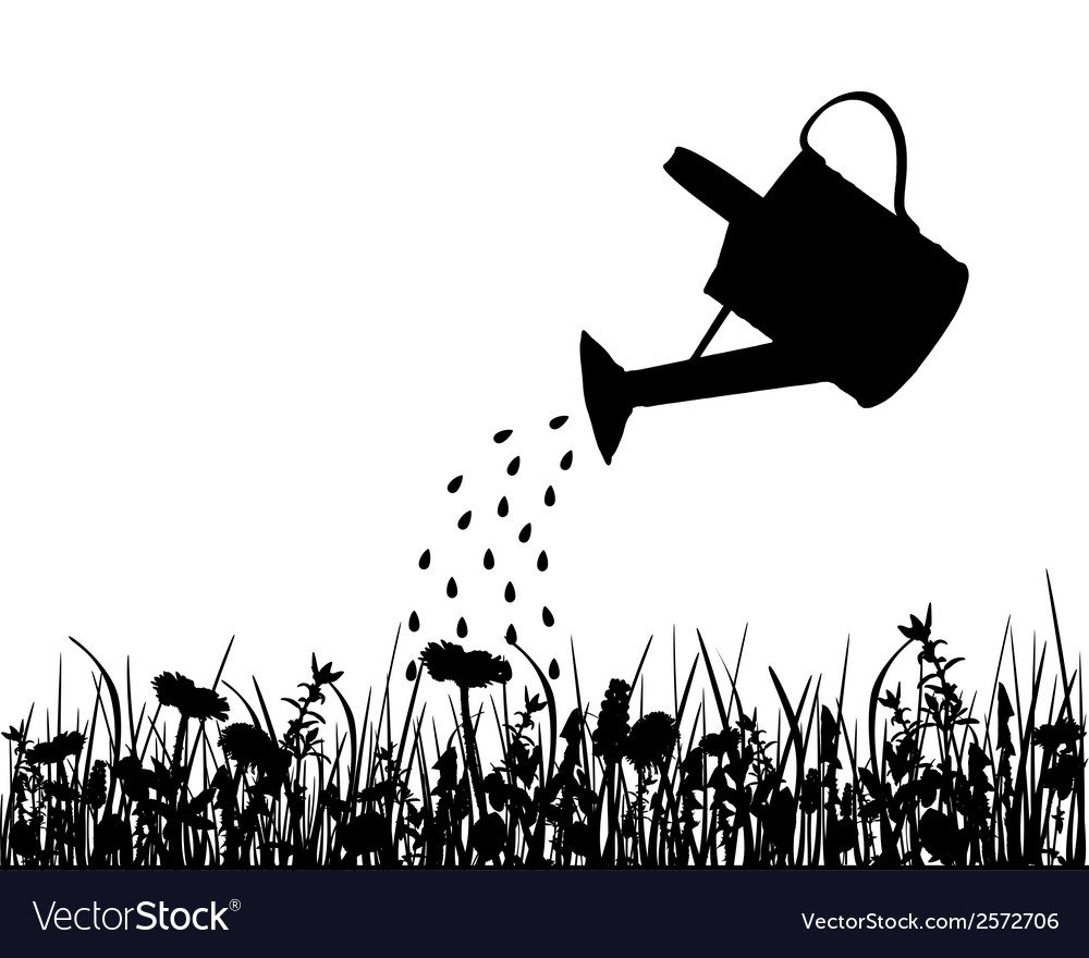 Watering pot and meadow vector | Price: 1 Credit (USD $1)