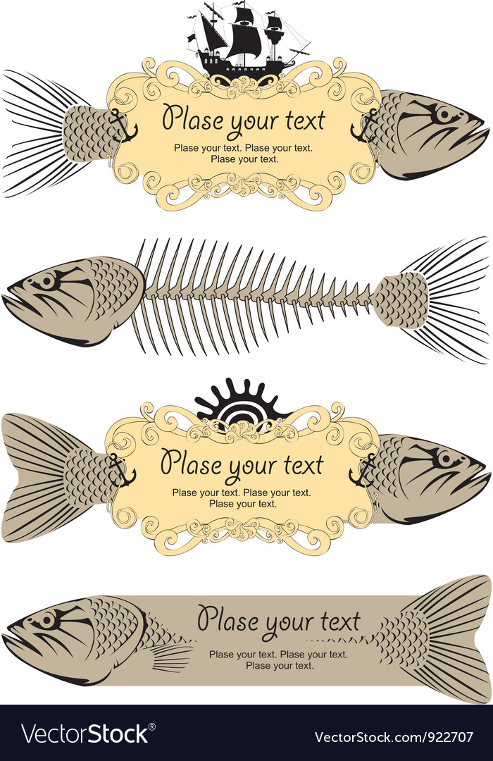 Banner signs with fish vector | Price: 1 Credit (USD $1)