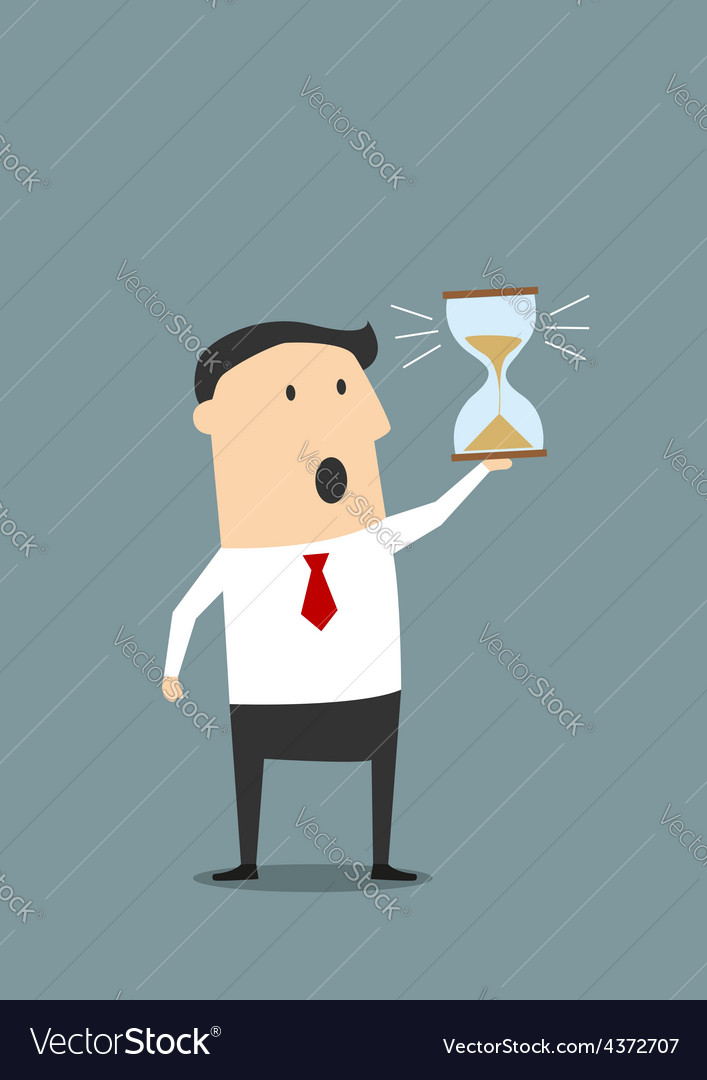 Businessman with sandglass worrying about deadline vector | Price: 1 Credit (USD $1)