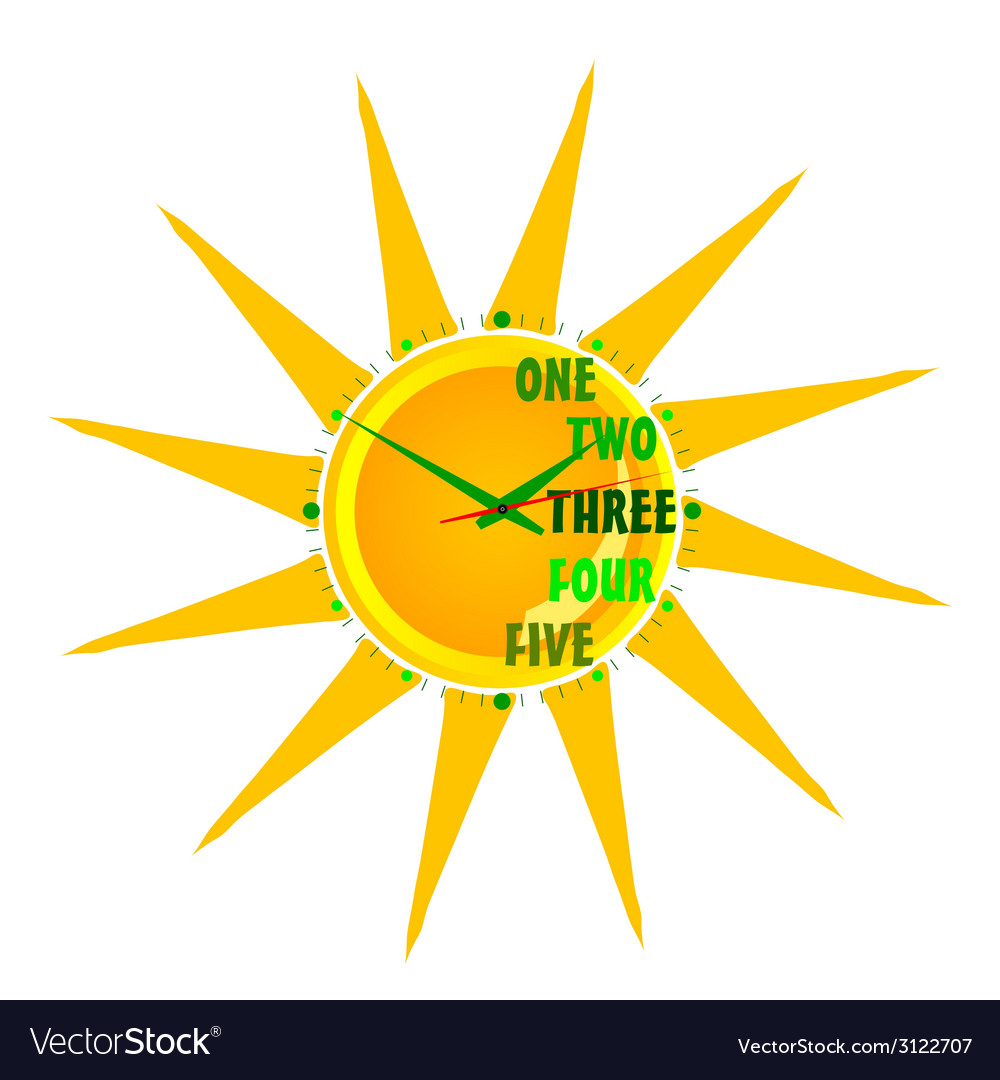 Clock in the sun three vector | Price: 1 Credit (USD $1)