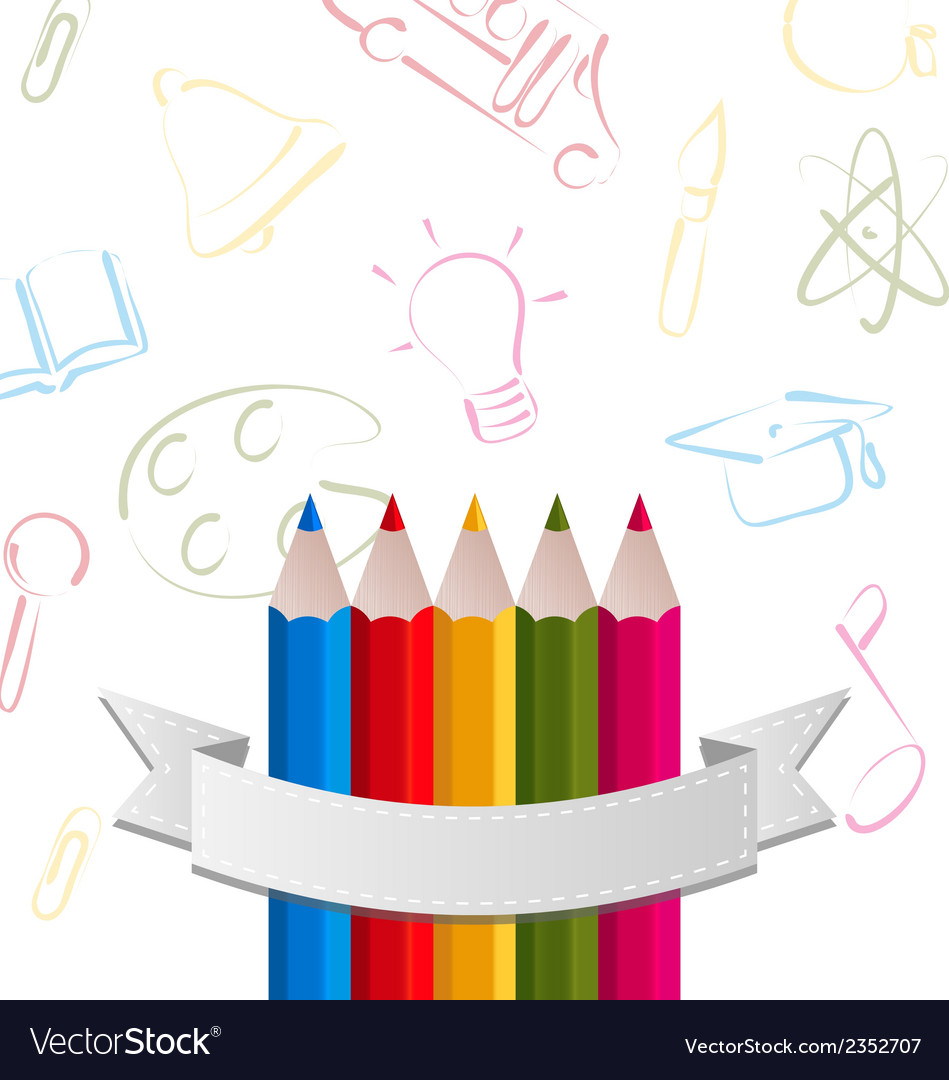 Colorful pencils with ribbon on pictogram vector | Price: 1 Credit (USD $1)