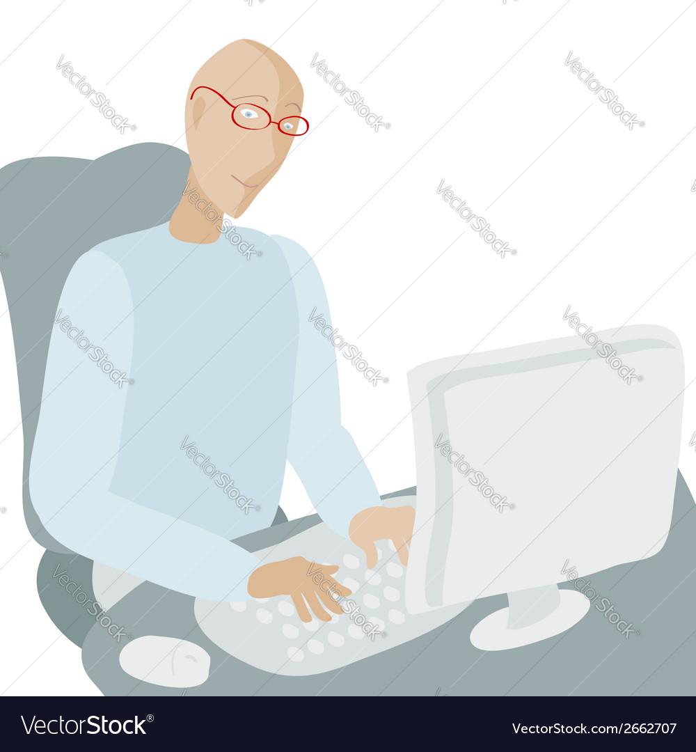 Computer man vector   Price: 1 Credit (USD $1)