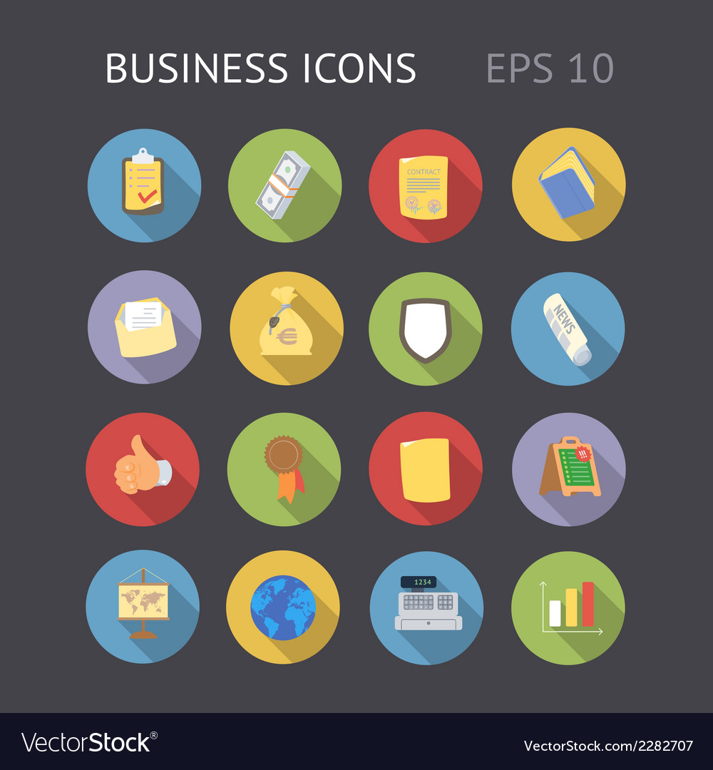 Flat icons for business vector | Price: 1 Credit (USD $1)