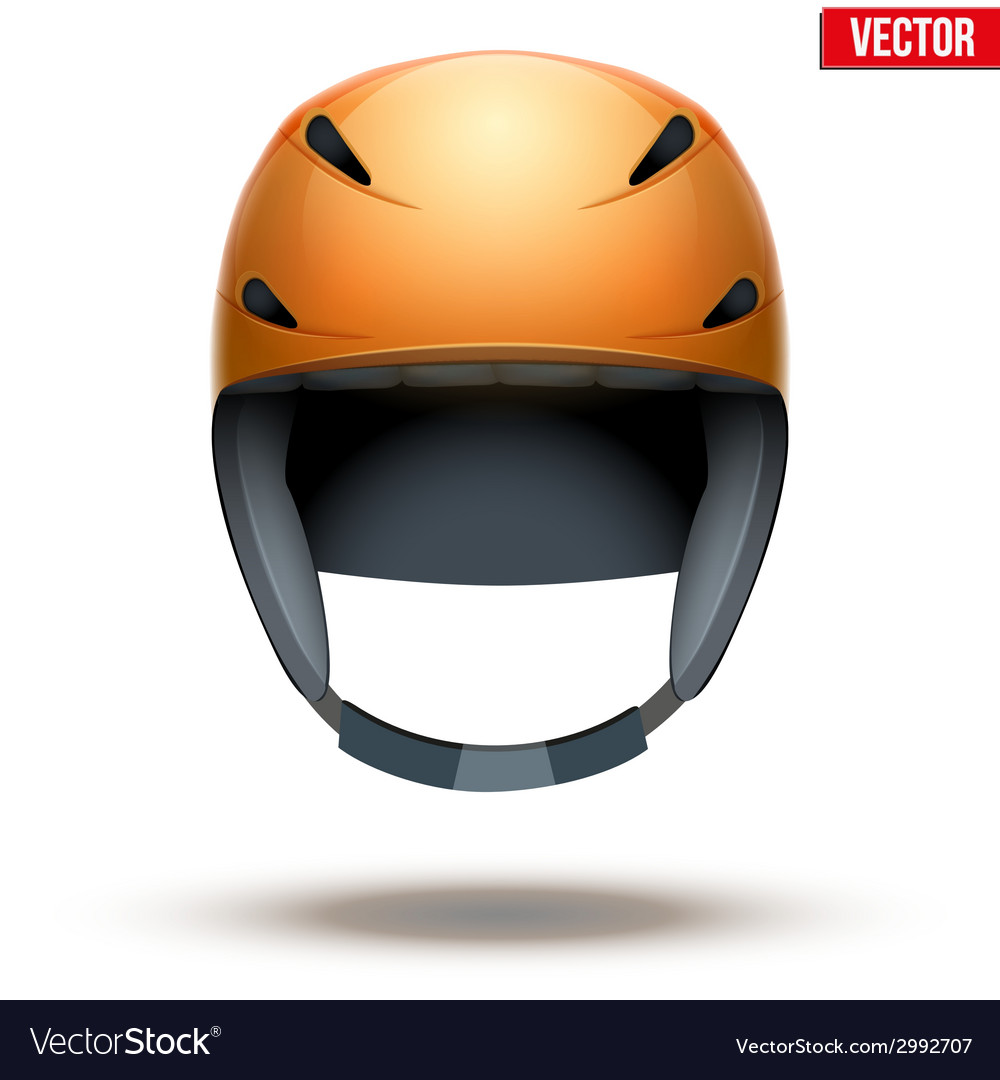 Front view of classic orange ski helmet isolated vector | Price: 1 Credit (USD $1)