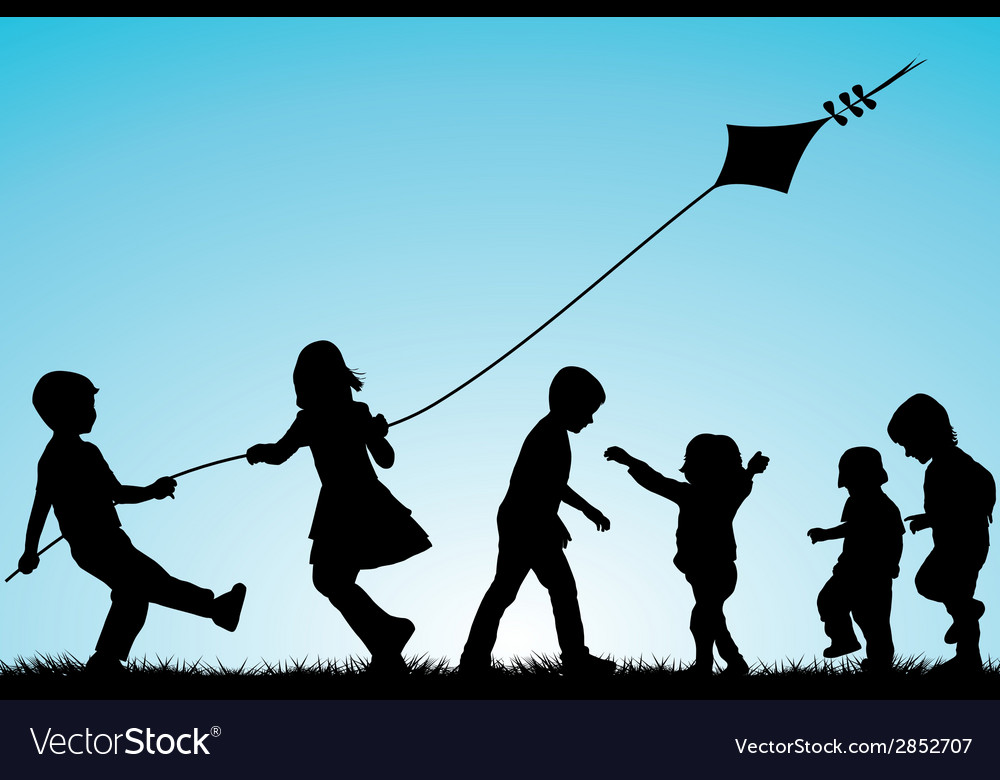 Group of children silhouettes with a kite outdoor vector | Price: 1 Credit (USD $1)