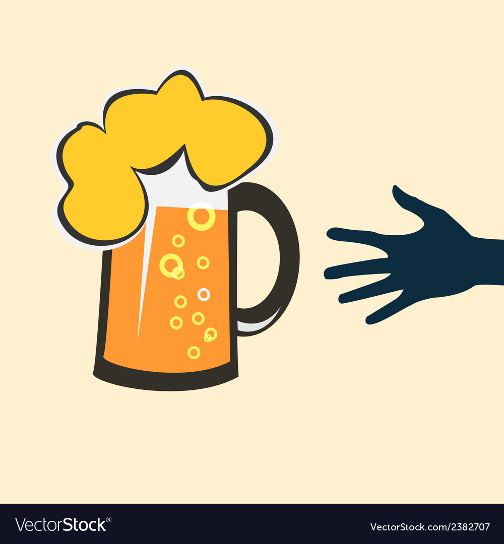 Hands reaching for a glass of beer vector | Price: 1 Credit (USD $1)