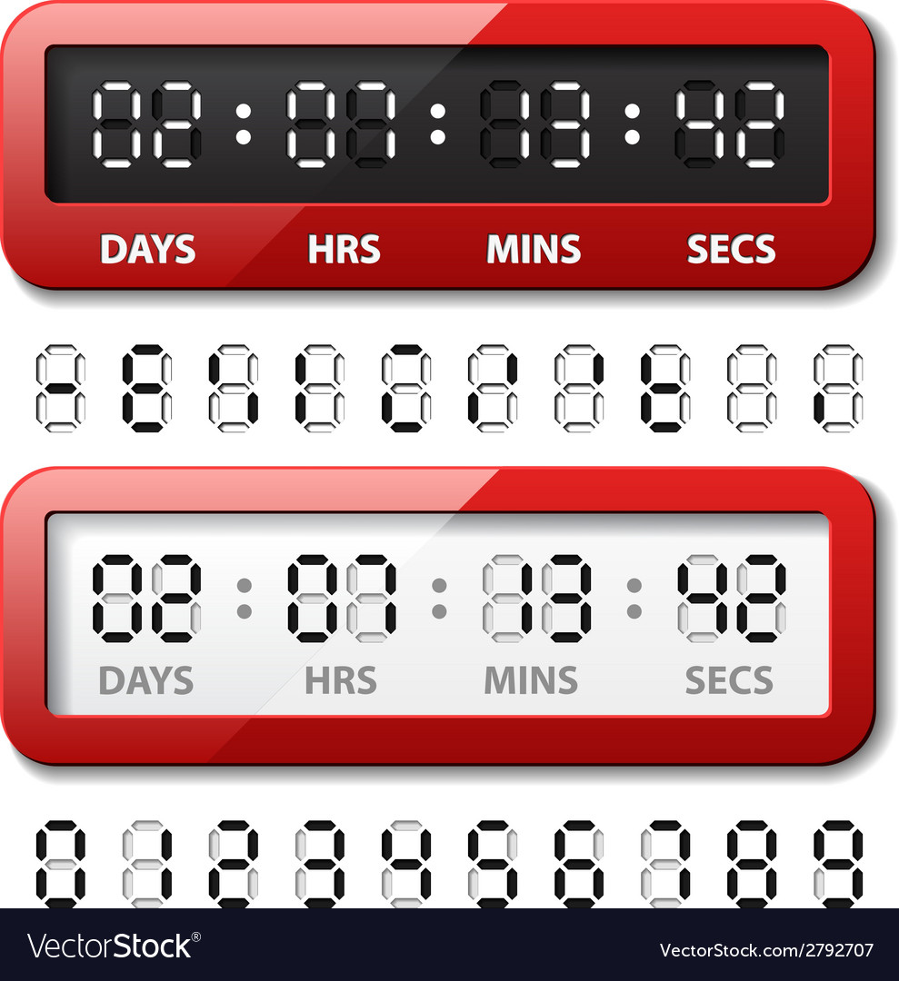 Red mechanical counter - countdown timer vector | Price: 1 Credit (USD $1)