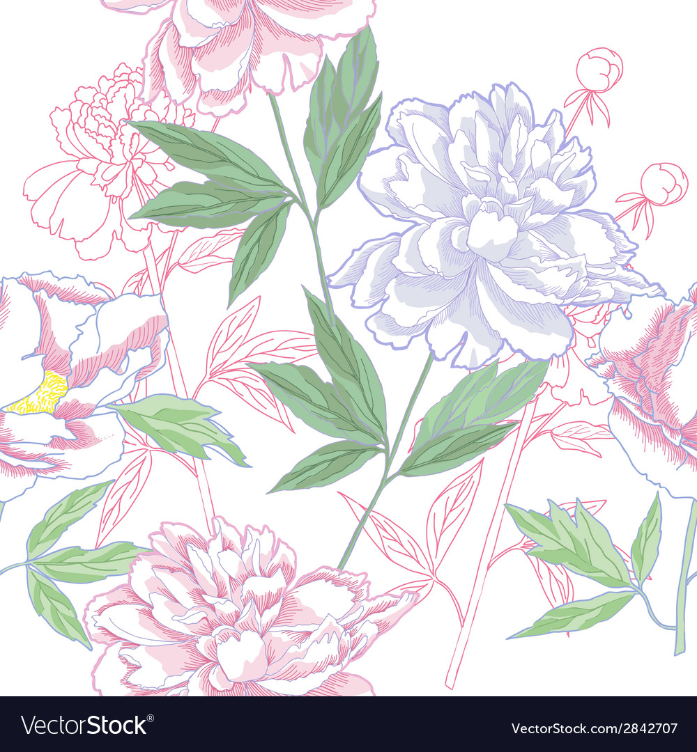 Seamless pattern with peonies and leaves vector | Price: 1 Credit (USD $1)