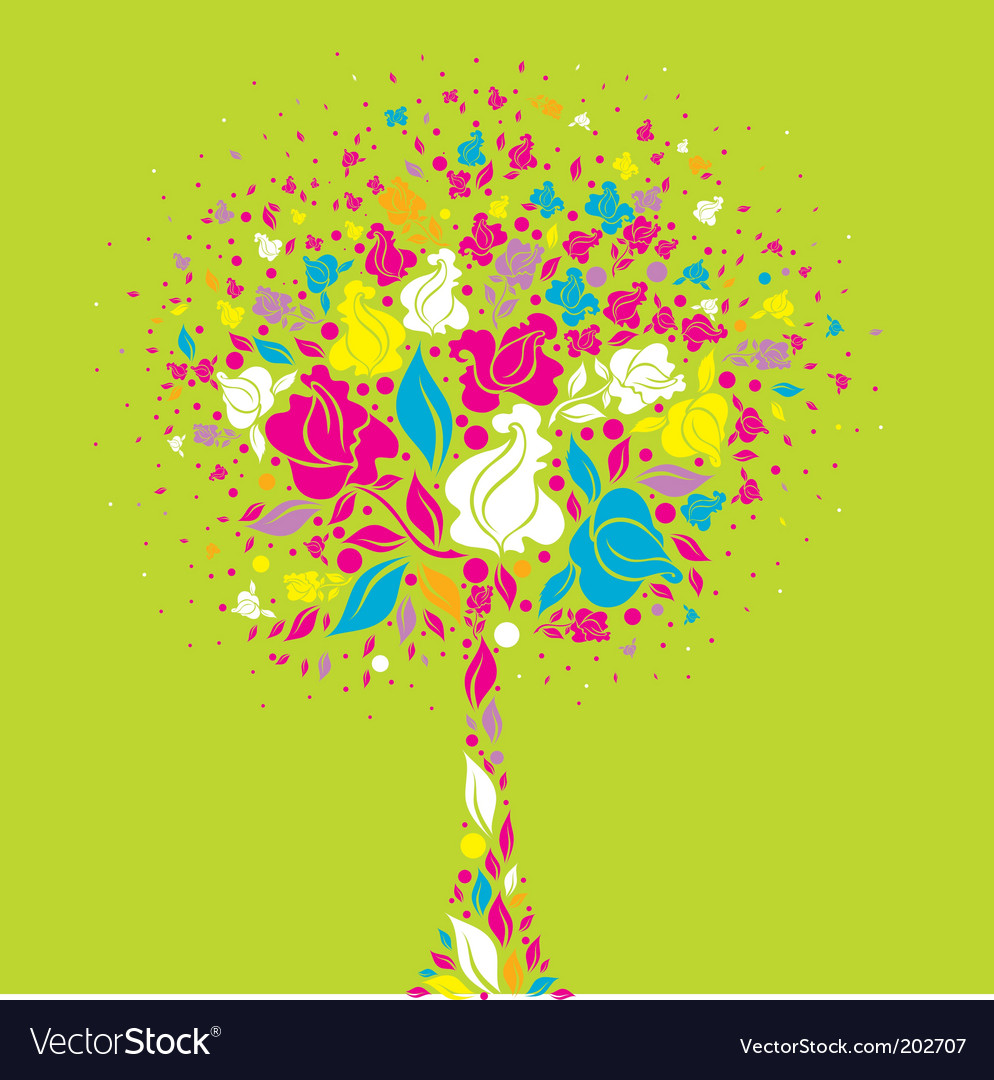 Tree symbol from colorful flowers vector | Price: 1 Credit (USD $1)