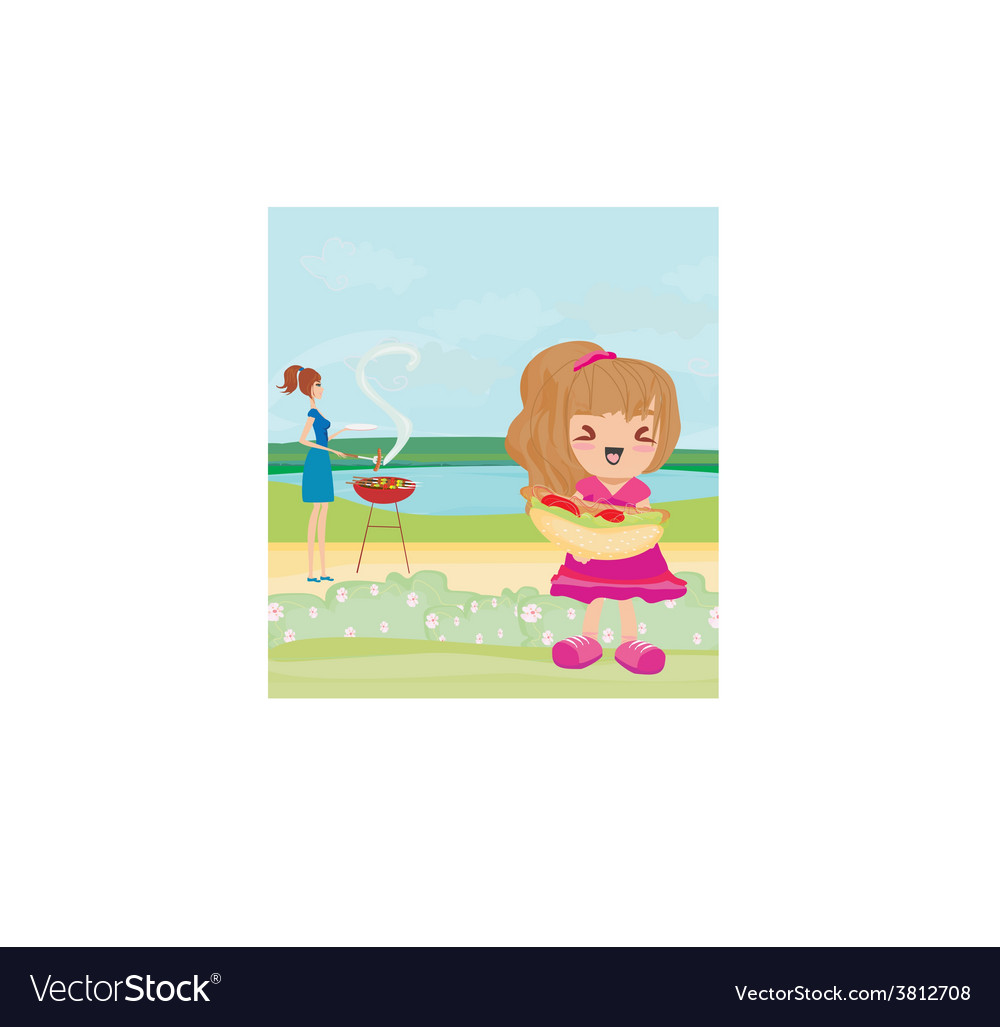 A family having a picnic in a park vector   Price: 1 Credit (USD $1)