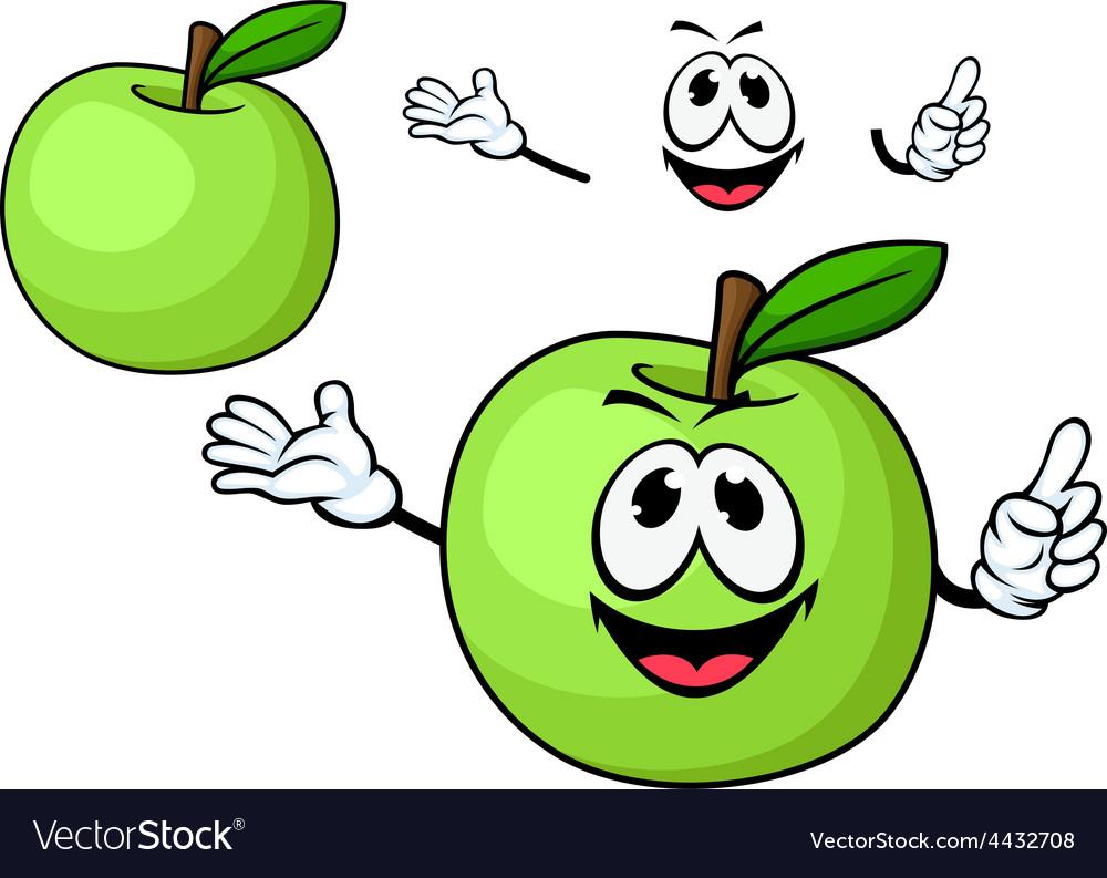 Cartoon juicy green apple fruit character vector   Price: 1 Credit (USD $1)