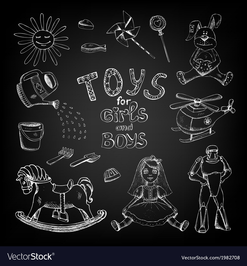 Chalkboard toys for girls and boys vector